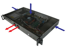 Optimized cooling in the mk100 1U rackmount case