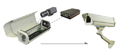 Fanless surveillance computer mounted inside cctv camera